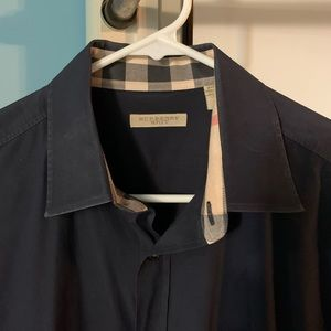 Burberry Brit Class Fit Large Navy Dress Shirt
